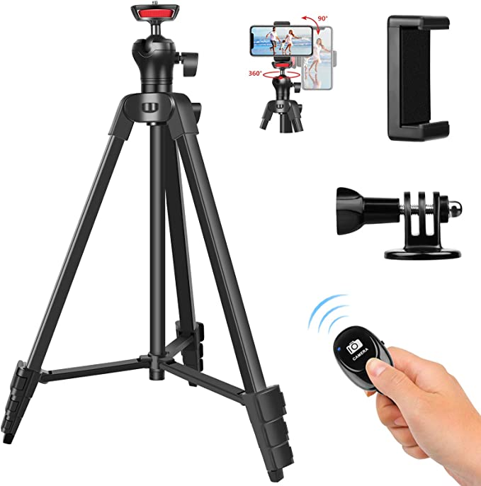 Phone Tripod Stand, UEGOGO 57-inch Light-Weight Travel Tripod, with Wireless Remote Shutter Phone Holder, Compatible with Android, iOS, Cellphone, DSLR, Action Camera