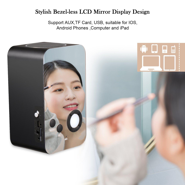 Portable Wireless Stereo Sound Speaker with LCD Screen HD Enhanced Bass XREXS Wireless Bluetooth Speaker with Night Light,FM Radio Alarm Clock Bluetooth Speaker Built-in Mic Support FM AUX TF