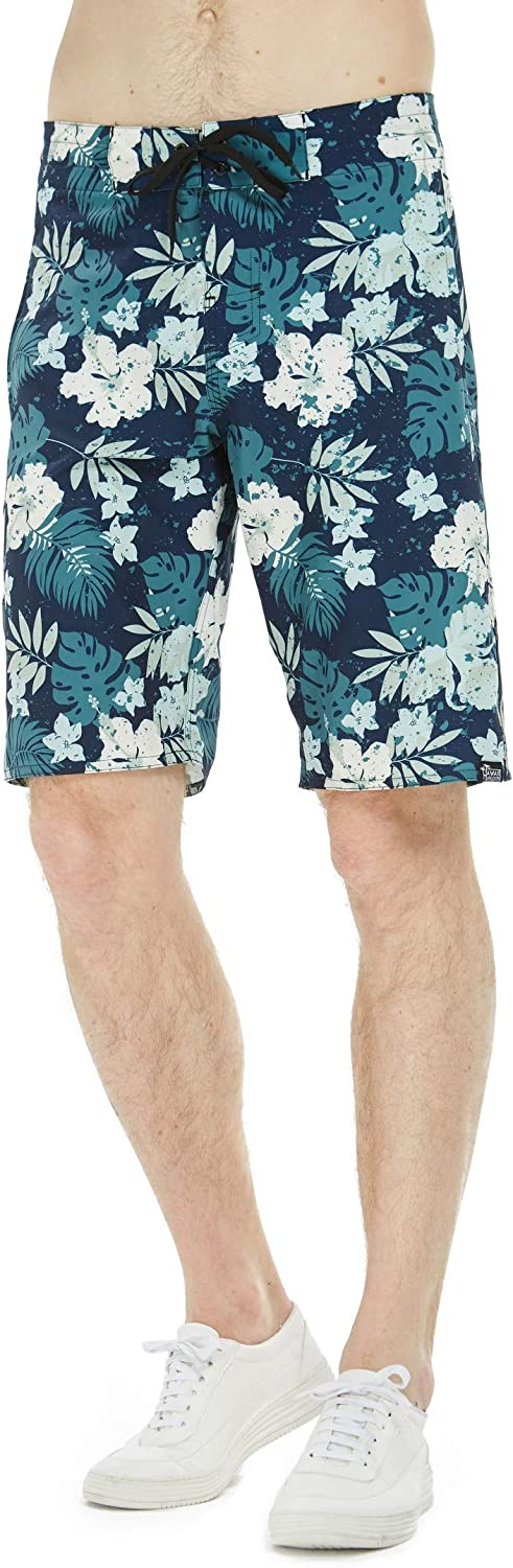 Men's Spandex Hawaiian Beach Board Shorts with Zipped Pocket in Faded Floral