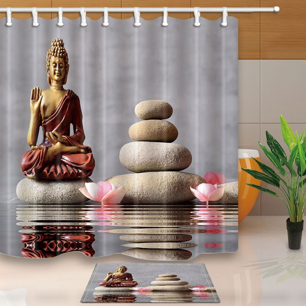 Spa Stone Bath Curtain Buddha is sitting in Zen Garden with Flower 180X180CM Mildew Resistant Polyester Fabric Shower Curtain Set With 60x40cm Flannel Non-Slip Floor Doormat Bath Rugs Nyngei nan6183