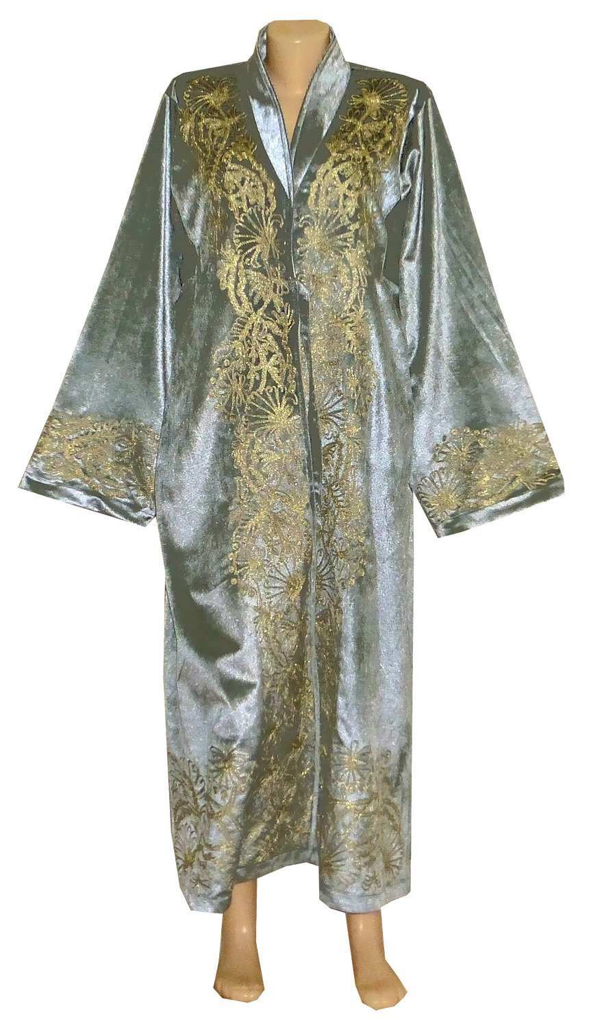 3e430bee006 Amazon.com: UZBEK TRADITIONAL BUKHARA ROBE JACKET COAT UNISEX GOLD SILK  EMBROIDERED A10539: Handmade