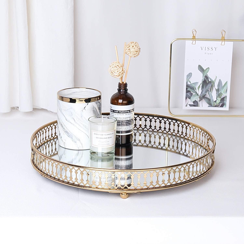 LULARINE Vanity Mirror Tray, Decorative Mirror Tray (Gold)