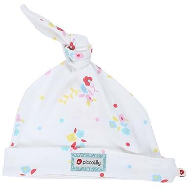 Piccalilly Coton Bio Blanc et Rose pour bébé fille Floral Bonnet noué -  Blanc - 6 ff00d10ac96