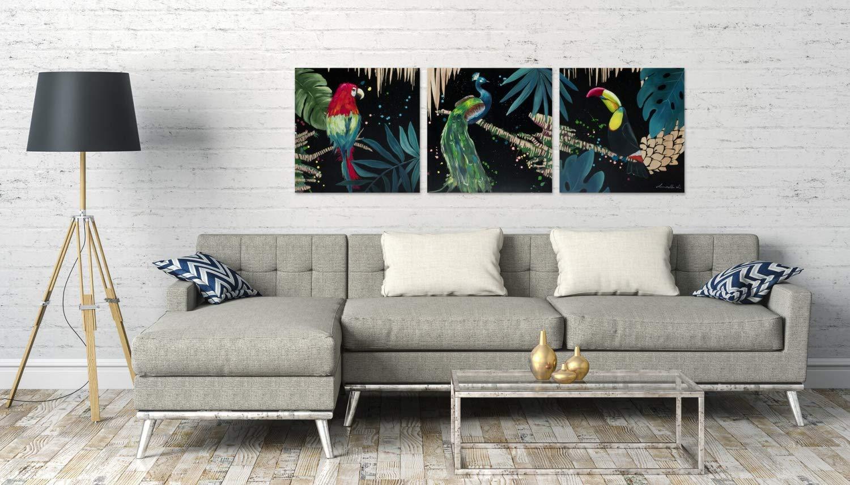 Pappagallo Nero Multicolore KunstLoft/® Stravagante Quadro di Legno Rilievo Canto Tropicale 180x60x3.5cm Decorazione Parete XXL Design Fatta a Mano Murale Dipinto Arte Moderna