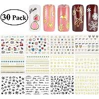 RUIMIO 30 Sheet Christmas Nail Stickers Decals Snowflakes Santa 3D Nail Art Stencils Designs