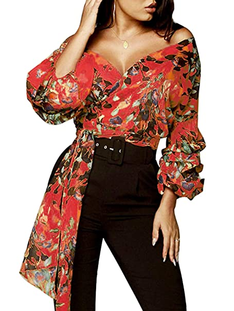 082ada2c40 Glamaker Women's Off Shoulder V Neck Long Sleeve Floral Print Wrap Top  Blouse Shirt with Belt