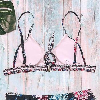 Internet_Mujer Africano/Bohemia/Hawaiano impresión Push-up Acolchado Sujetador Beach Bikini Traje de baño,Correa de Pecho/Calado/Cofre Abierto Sujetador ...