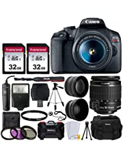 "Canon EOS Rebel T7 Digital SLR Camera Bundle + EF-S 18-55mm f 3.5-5.6 is II Lens + 58mm 2X Professional Telephoto & 58mm Wide Angle Lens + 64GB Memory Card + DC59 Case + 60"" Tripod + Slave Flash"