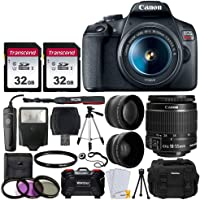 "Canon EOS Rebel T7 Digital SLR Camera + EF-S 18-55mm f 3.5-5.6 IS II Lens + 58mm 2X Professional Telephoto & 58mm Wide Angle Lens + 64GB Memory Card + DC59 Case + 60"" Tripod + Slave Flash + UV Filters"