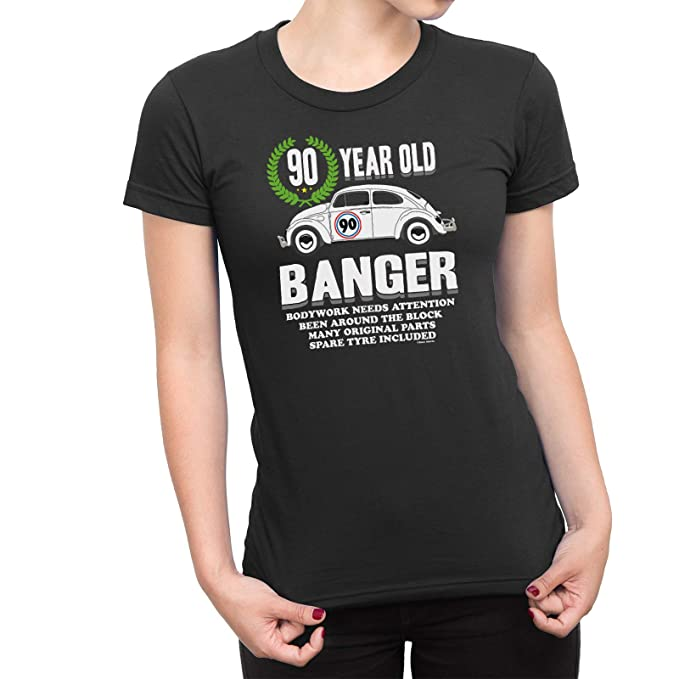 Buzz Shirts Womens 90th Birthday Small Black T Shirt Old Banger Gift