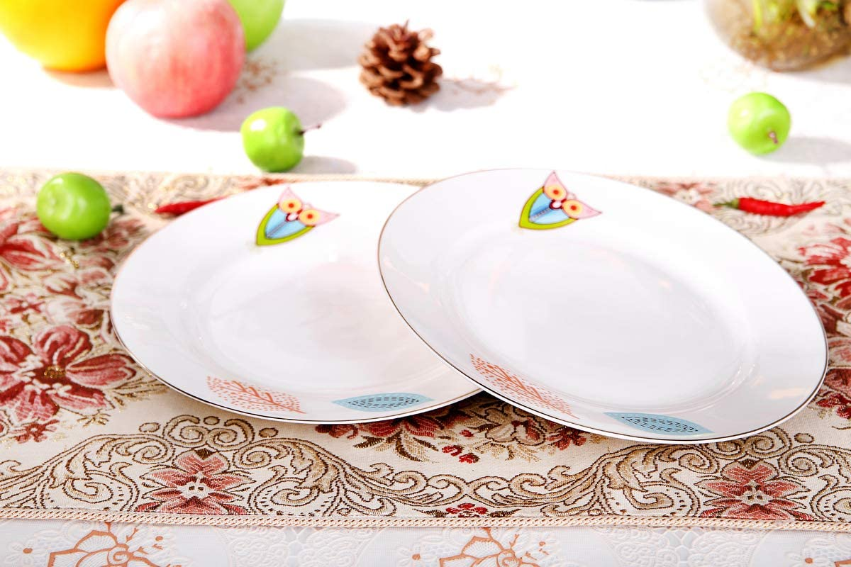 AnnoCasa 4 pieces Thin /& Lightweight Bone China Salad//Dessert Plate Sets 8 inches White with Colorful Leaf