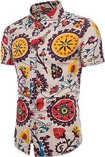 Chemises Homme Chemises Hawaiennes Homme Grande Taille Hommes Été Bohe Floral Manches Courtes Lin T-Shirt Basique Top Blouse HCFKJ - MS
