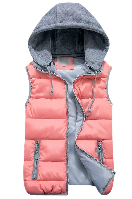 Women's Hoodie Full Zip Up Padding Quilted Jacket Vest Waistcoat CATNCJJ8