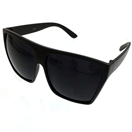 b28bc575c1 BLACK Oversized Large XL Big Sunglasses Kim Square Flat Aviator Mens Womens  Matte Black - - Amazon.com