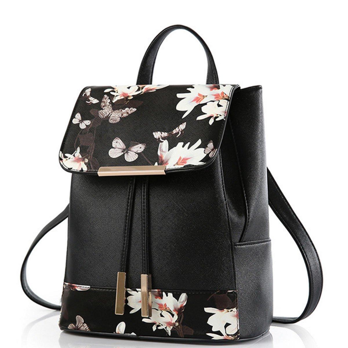 WINK KANGAROO Fashion Shoulder Bag Rucksack PU Leather Women Girls Ladies Backpack Travel bag (Butterfly B)