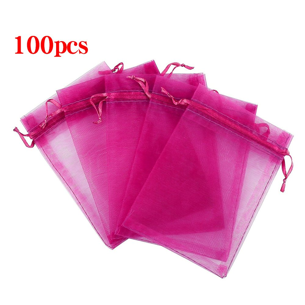 Boshen 100/200PCS Organza Gift Candy Sheer Bags Mesh Jewelry Pouches Drawstring Bulk for Wedding Party Favors Christmas 3''x4'' 5''x7'' (5'' X 7''(100PCS), Hot Pink) by Boshen
