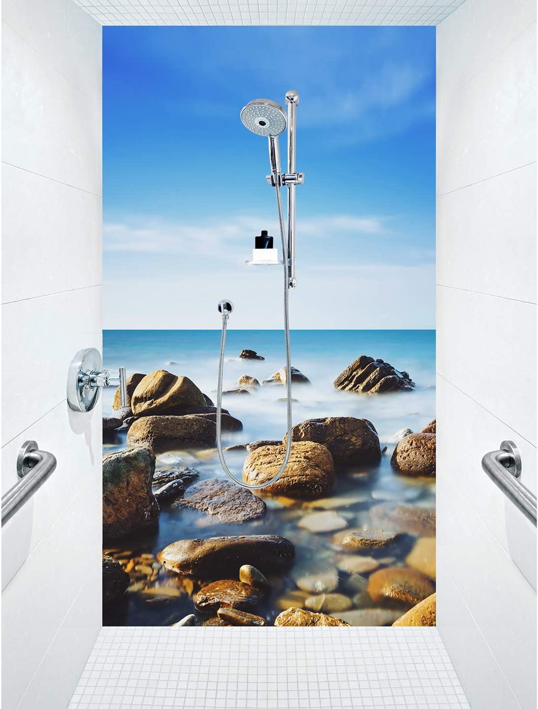 Lobos Seaside - Panel de ducha compuesto de aluminio como placa individual o juego de placas para ducha de esquina: Amazon.es: Bricolaje y herramientas