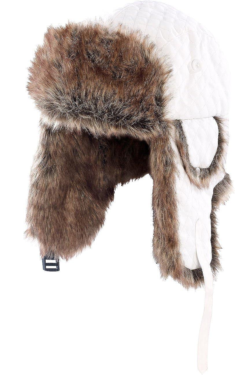 PEARL urban Fellmütze: Polarmütze mit Fellfutter, weiß Gr. L (Pelzmütze)