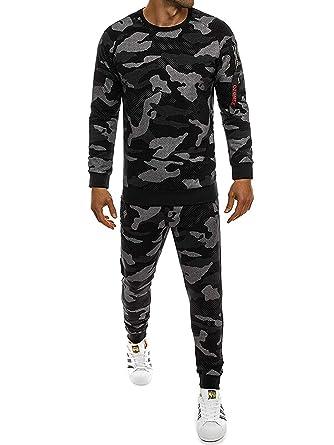 881d308925a26e OZONEE Herren Sportanzug Trainingsanzug Trainingshose Jogger Fitness  Jogginghose Sweatshirt Camouflage 0937 CAMO-DUNKELGRAU S