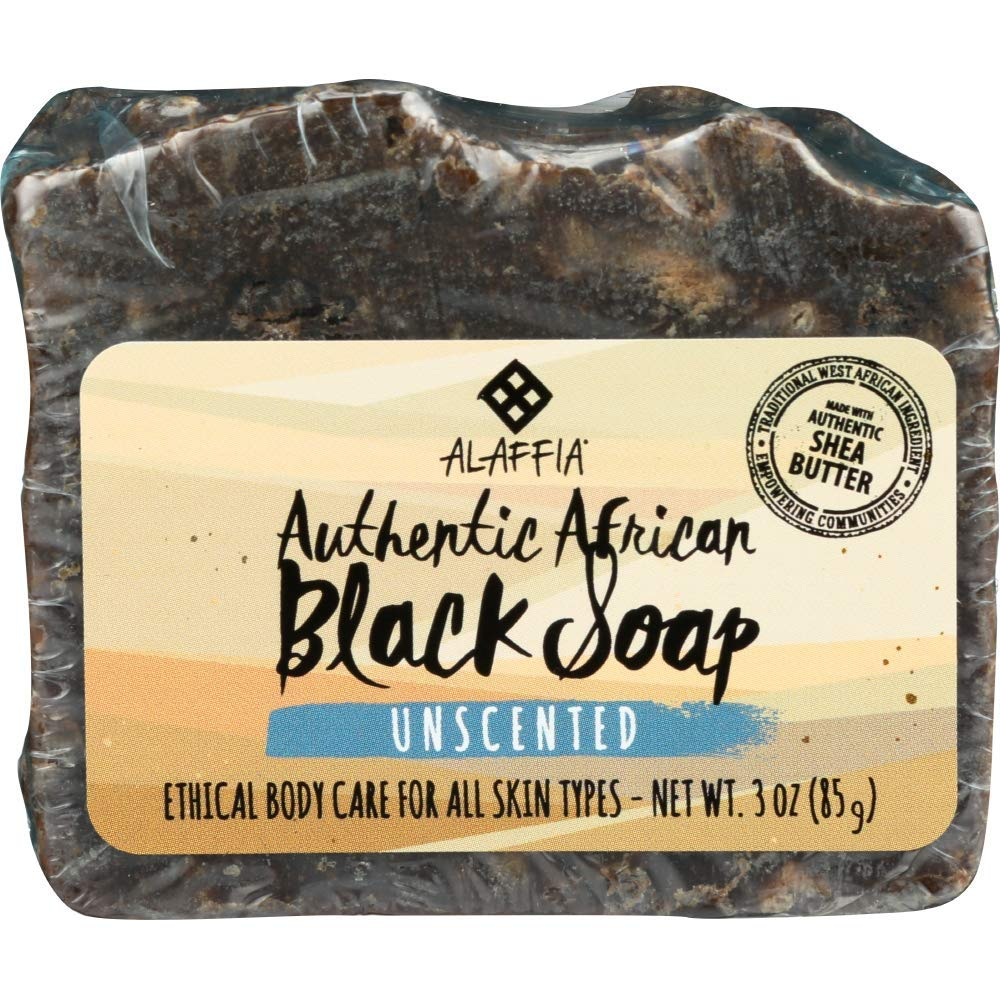 Alaffia - Authentic African Black Soap Bar, Handcrafted to Cleanse and Moisturize Skin with Unrefined Shea Butter and Palm Kernel Oil, Fair Trade, Ethically Crafted, Unscented, 3 Ounces