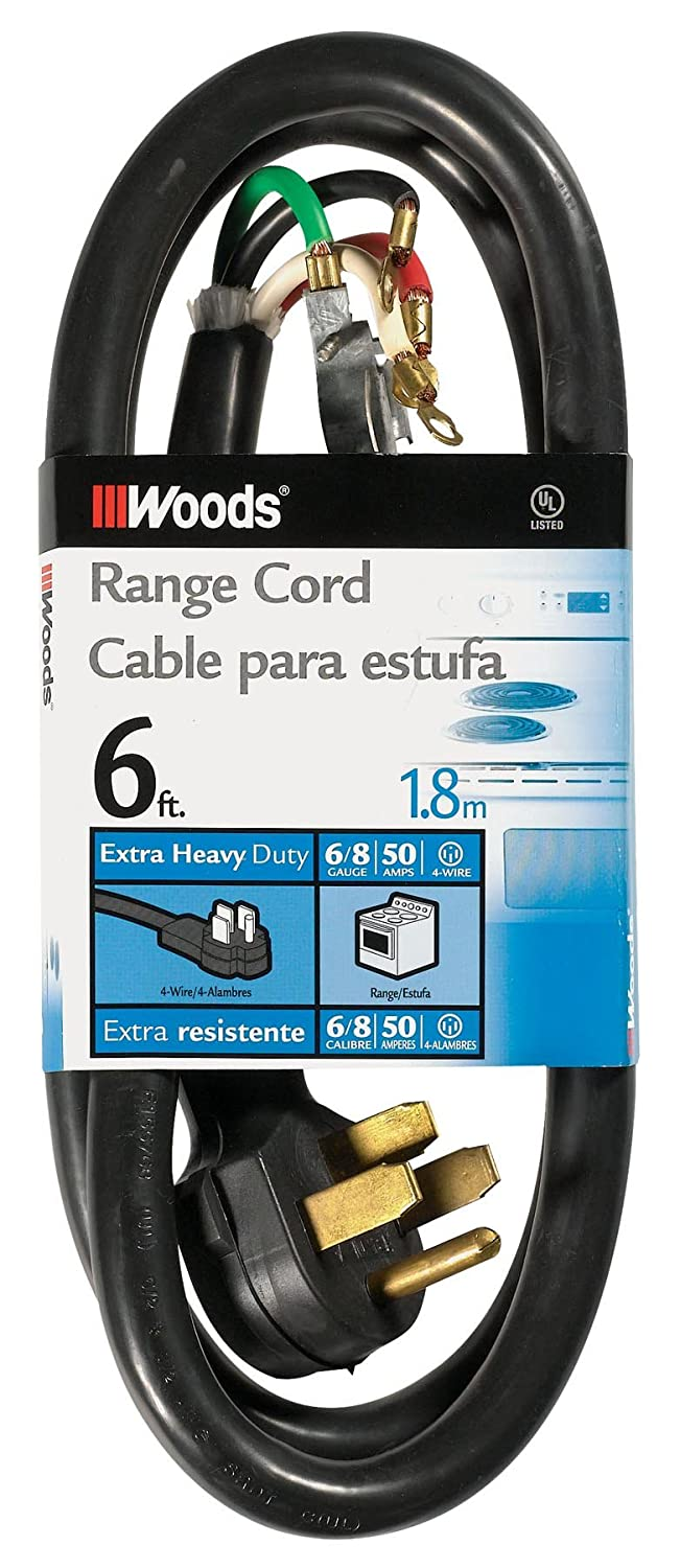 Woods 0762 6 2 8 Srdt 50 Amp Range And Dryer Appliance Cord Black Wiring Diagram Besides 3 Prong Feet Replacement Parts