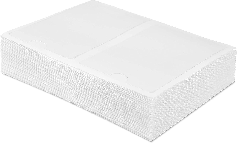 100 Visitenkartentaschen Visitenkartenhüllen in 95x60 mm selbstklebend klar 1147