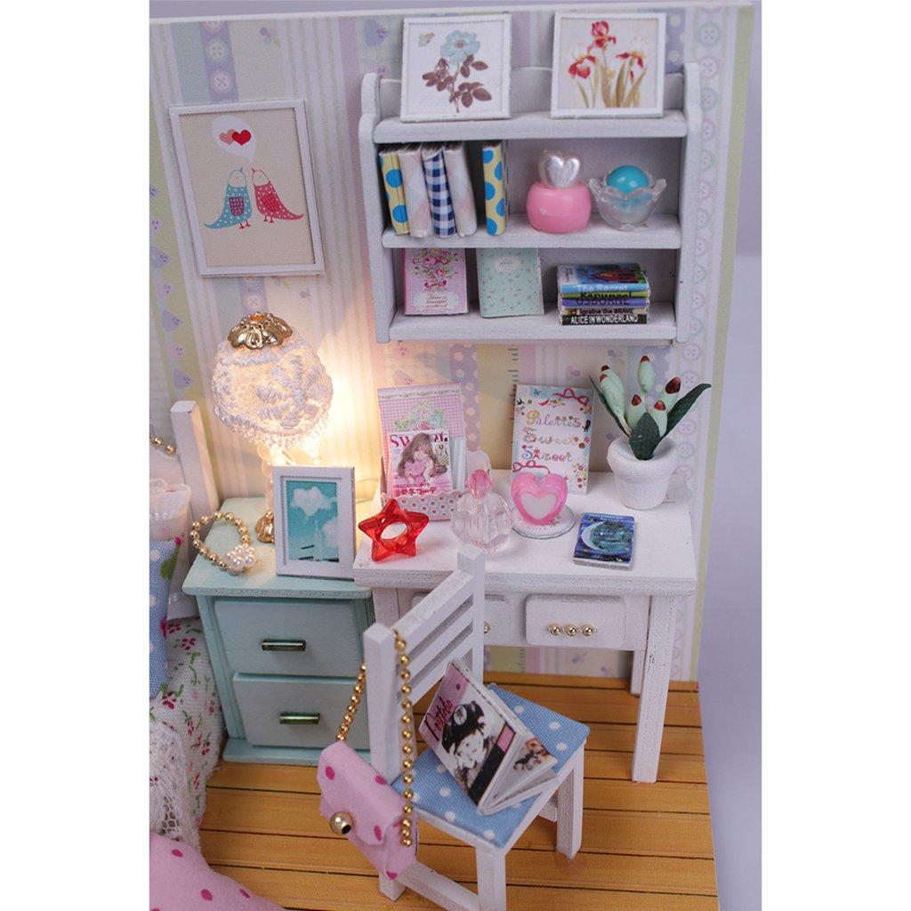 E Luz y Cubierta Antipolvo en Miniatura Juguete Regalo para Ni/ños Baoblaze Kit de DIY Dollhouse con Mueble
