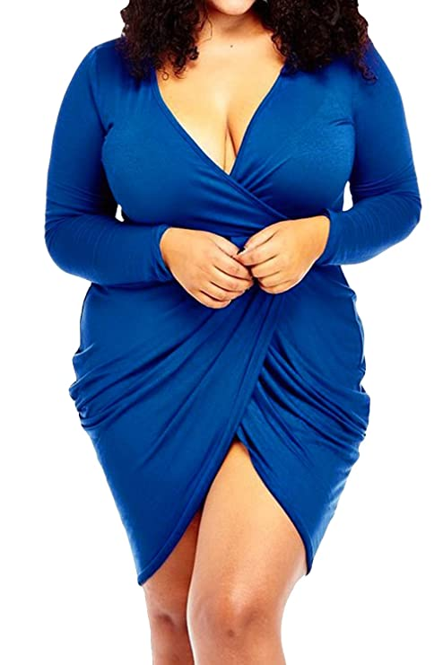 POSESHE Womens Plus Size Deep V Neck Bodycon Wrap Dress with Front Slit XL Blue