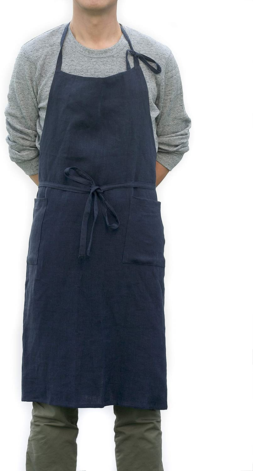 Men's Vintage Workwear Inspired Clothing Ruth&Boaz Men and Women Adjustable Linen Apron with 2 Pockets (Navy Free) $27.90 AT vintagedancer.com