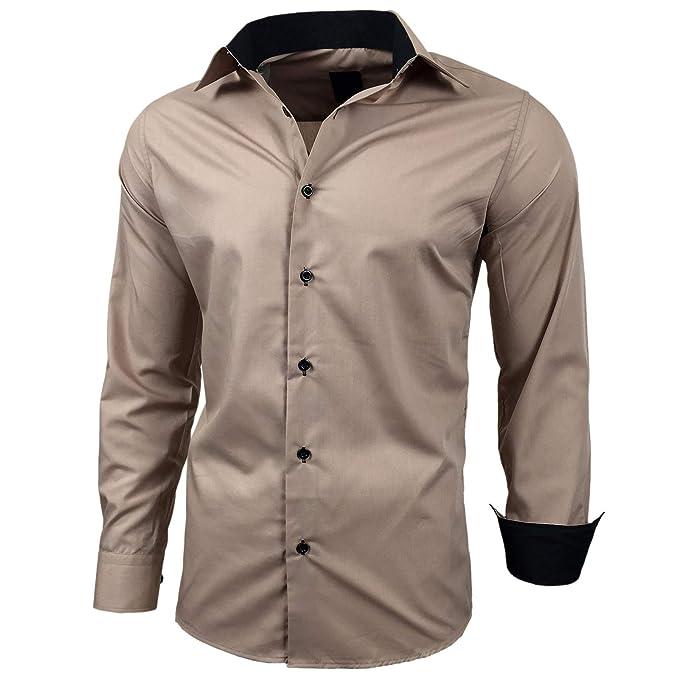 best service 7232b e6551 Baxboy Herren-Hemd Slim-Fit Bügelleicht Für Anzug, Business, Hochzeit,  Freizeit - Langarm Hemden für Männer Langarmhemd R-44