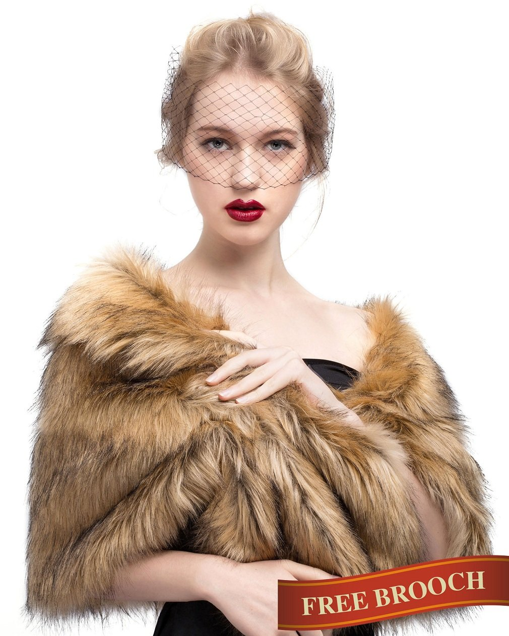 Faux Fur Shawl Wrap Stole Shrug Winter Bridal Wedding Cover Up Brown Size M