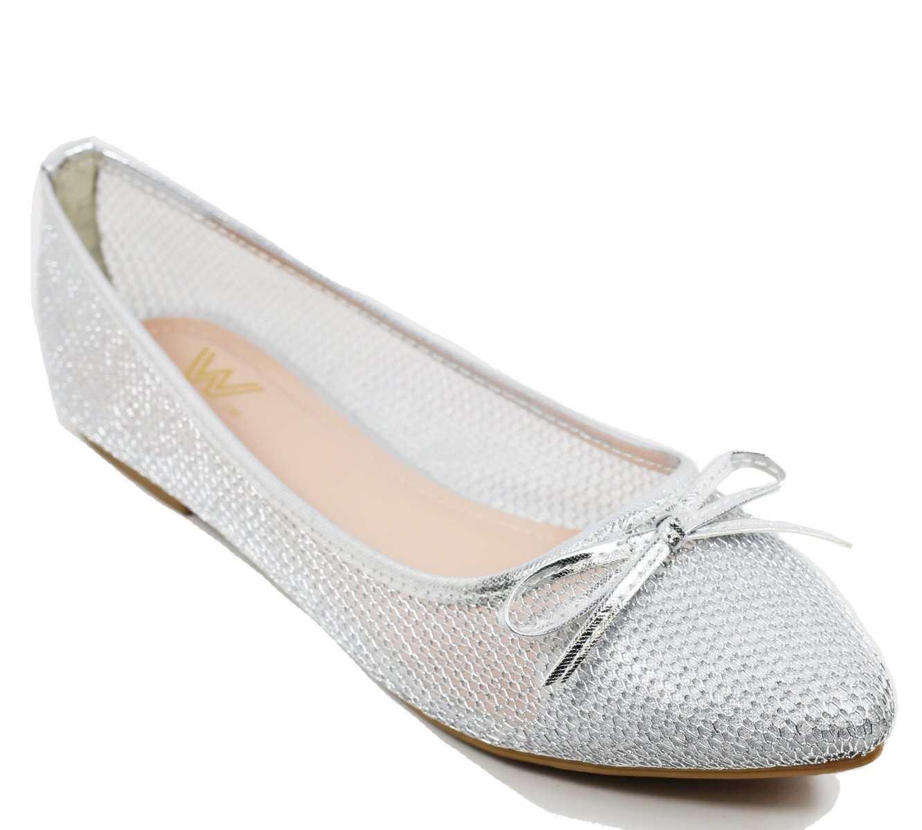Walstar wedding shoes for bride Flat B073WJDTWM Shoes Mesh Flat Shoes B073WJDTWM Flat 9 B(M) US|Silver 3a9db6