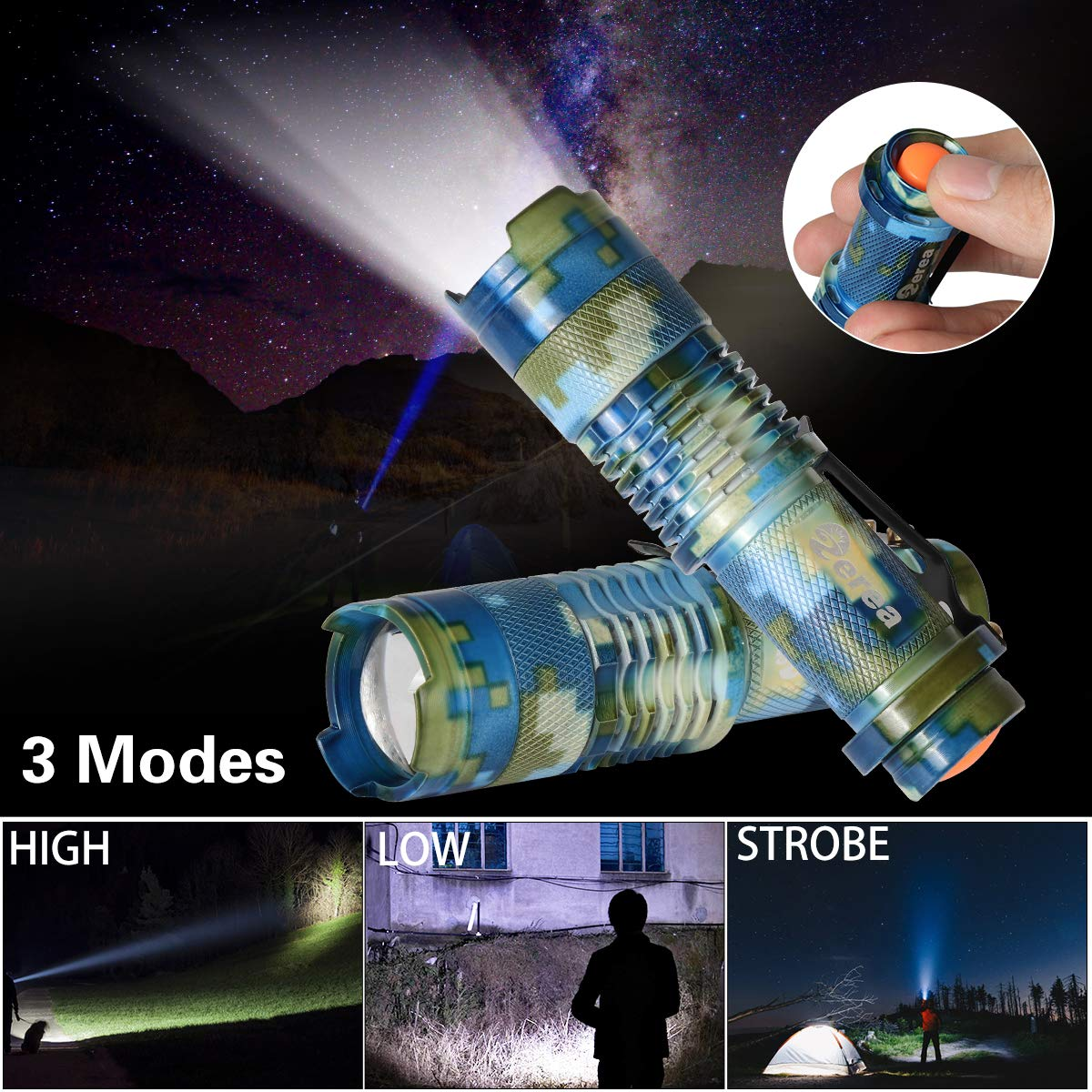 5 Pack Ultra-Bright LED Tactical Mini Flashlights 5 Camo Outdoor and Camping High Lumens Zoomable LED Handheld Flashlights with 3 Lighting Modes ZEREA Hiking Best for Emergency