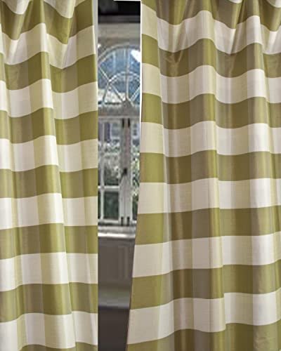 D D Faux Silk Checks Drape/Panel/Curtain 52″ W X 96″ L