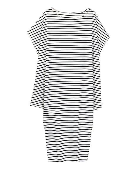 Vestido Mujer Casual Vestidos Blancos Negros Rayas Asimétrico Dress Flojo Sueltos Camisero Larga Algodón Elegante Vestido Para Dama Encantador Verano Cóctel ...