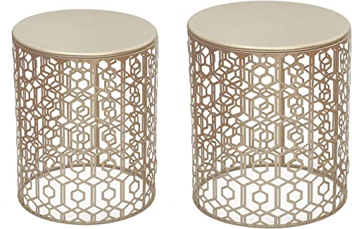 Adeco Decorative Nesting Round Side End Accent Coffee Table, Side Table. Nightstand, Set of 2 Gold