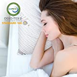 Homitt Shredded Memory Foam Pillow, CertiPUR-US and OEKO-TEX Approved Bamboo Pillow for Sleeping. Bed pillow for Back and Side Sleeper Support Dust Mite Resistant Use (Queen)