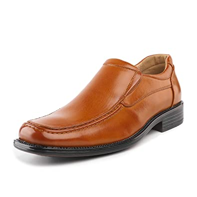 a9675904670 Bruno Marc Men s Goldman-02 Brown Leather Lined Square Toe Dress Loafers  Shoes - 6.5