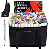TouchNew 168 Set Color Graphic Drawing Painting Alcohol Art Dual Tip Sketch Pen Twin Marker Design Coloring Highlighting Set Carry Bag +A4 Drawing Book + Parblo Glove