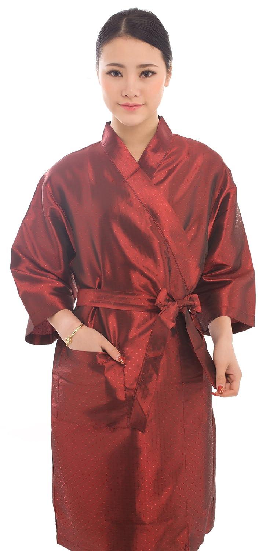 Bata para clientes de salón de belleza con estilo de kimono, de 109 cm, color negro: Amazon.es: Belleza