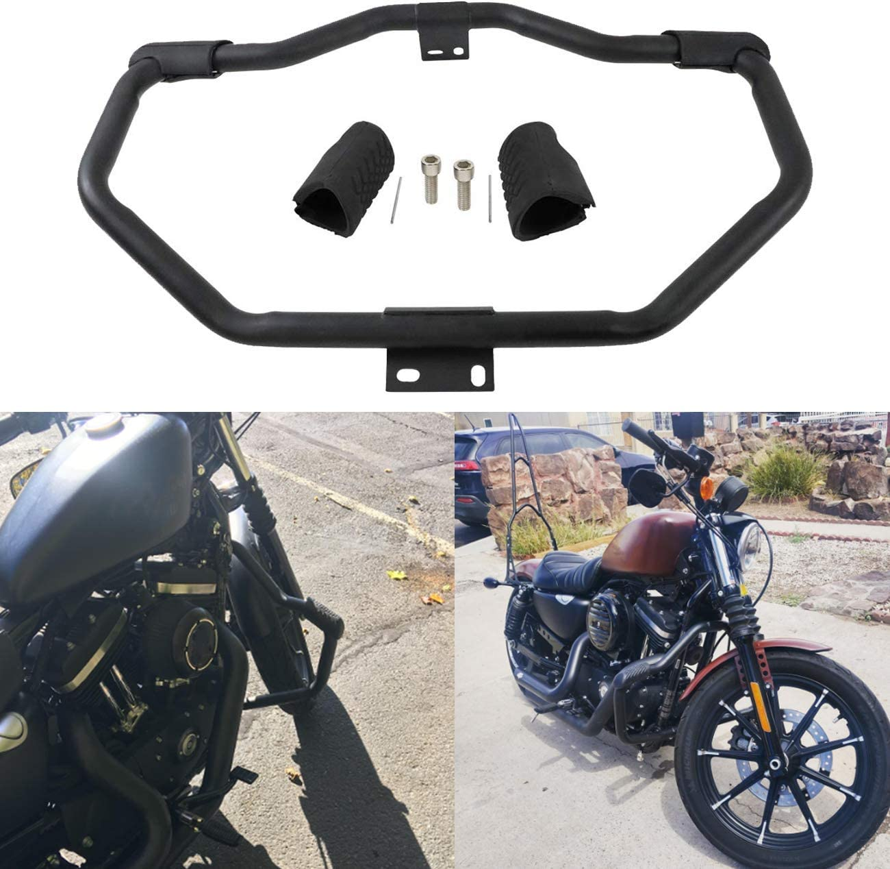 XFMT Engine Guard Highway Bar Set Compatible with Harley Sportster 1200 883 2004-2019 Iron 883 2009-2020
