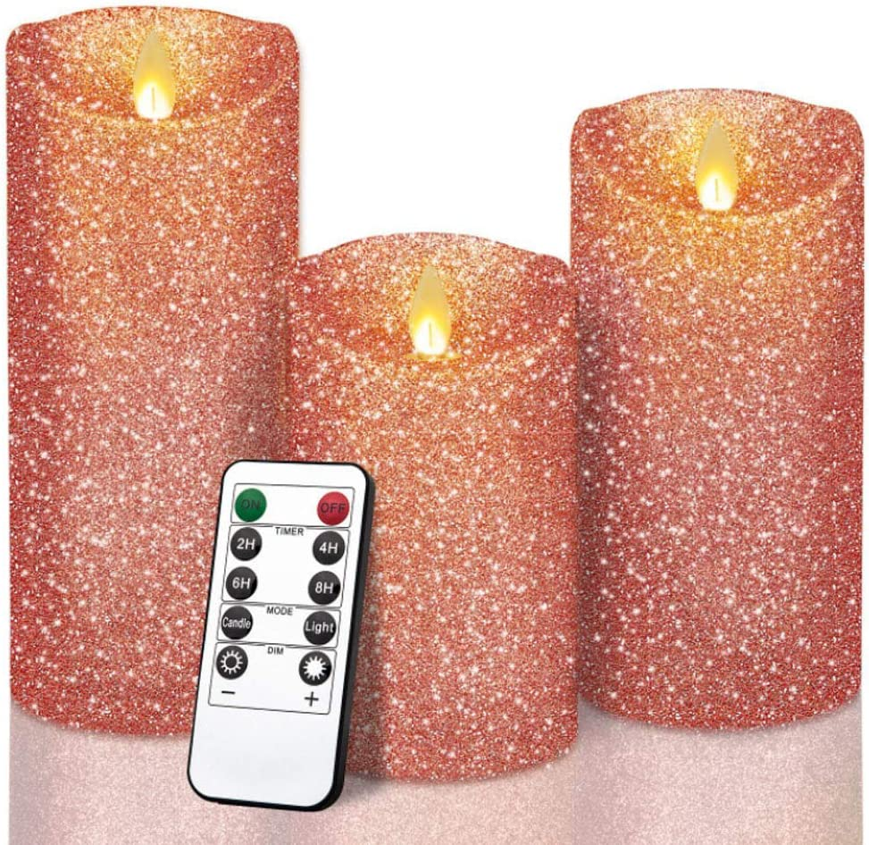 Redshore Flickering Flameless Candles Pink Glitter Christmas Candles Gifts Led Battery Operated Candle With Remote Great For Xmas And Holidays Set Of 3 Amazon Co Uk Kitchen Home