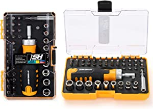 "STEELHEAD 42-Piece Ratcheting Magnetic Screwdriver Bit & Socket Set, (4) Hex, (6) Phillips, (5) Slot, (4) Square, (7) Star, (9) 1/4"" SAE & Metric Sockets, Handle Bit Storage, USA-Based Support"