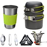 Odoland Camping Cookware Stove Carabiner Canister Stand Tripod and Stainless Steel Cup, Tank Bracket, Fork Knife Spoon Kit for Backpacking, Outdoor Camping Hiking and Picnic