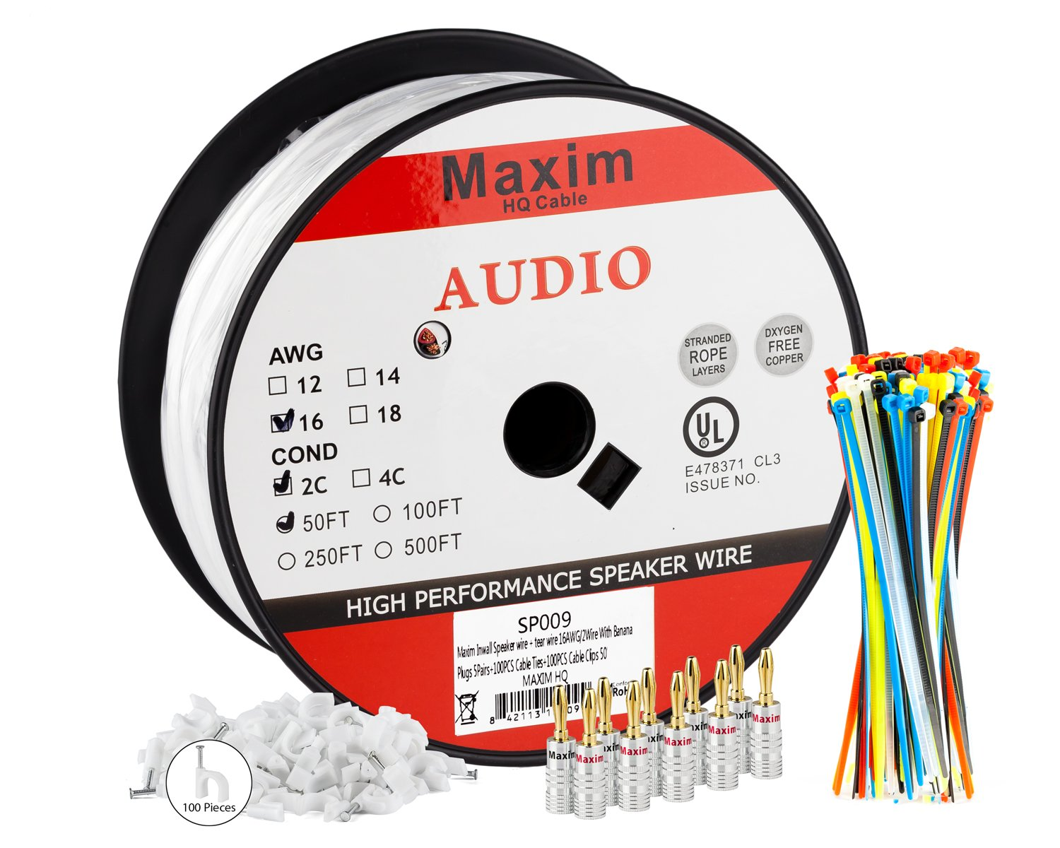 Amazon.com: Maximm In Wall Speaker Wire - 50 Feet - 16AWG CL3 Rated ...