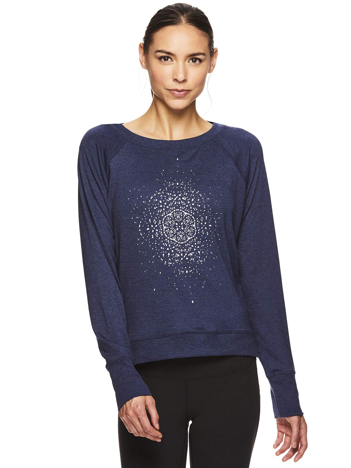 Gaiam Women's Pullover Yoga Sweater - Long Sleeve Graphic Activewear Shirt - Calla Medieval Blue Heather, Large by Gaiam