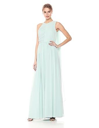 980968eb898f Amazon.com: Halston Heritage Women's Sleeveless Plisse Fortuny Gown with  Back Drape: Clothing