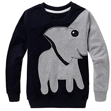 56373034 Little Boys 100% Cotton Toddler Clothes Elephant Print Long Sleeve  Sweatshirt Top