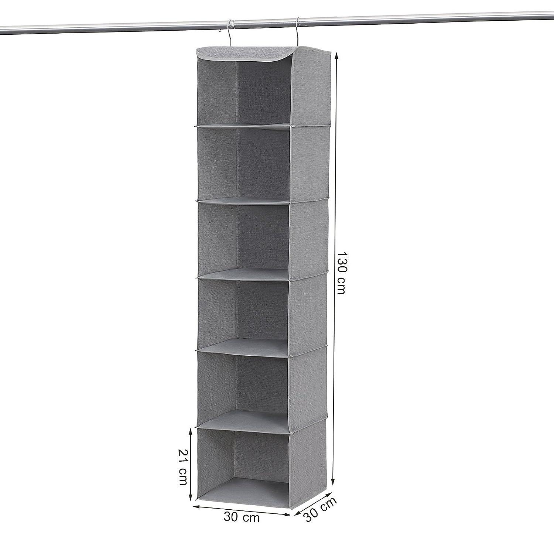 Organizador Colgante 30 x 30 x 130 cm con 6 Estantes y 2 Pinzas Beige RCH06M SONGMICS Estante de Tela
