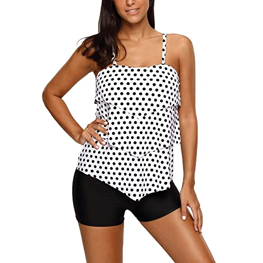 d5c9bd3432732 MuCoo Women's Polka Dot Print Ruffle Layered Two Pieces Tankini Top  Swimsuit Set at Amazon Women's Clothing store: